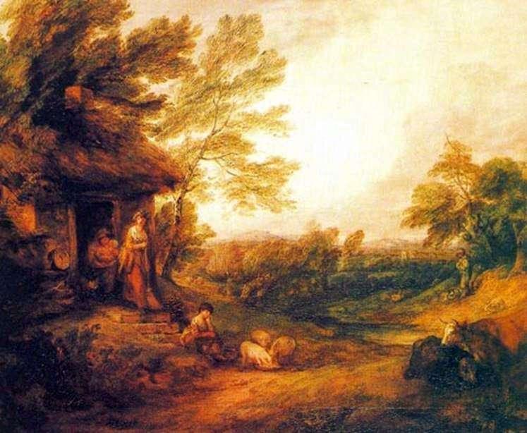 Деревенский домик с поросятами   Томас Гейнсборо