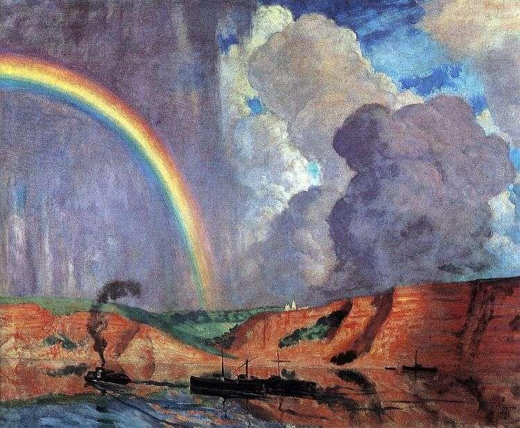 Волга. Радуга   Кустодиев