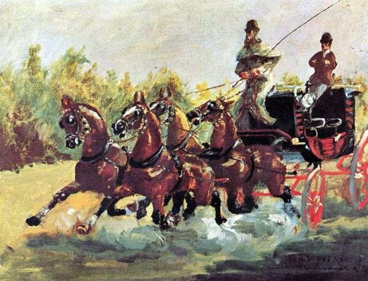 Граф Альфонс де Тулуз Лотрек правит упряжкой из четырех лошадей   Анри де Тулуз Лотрек
