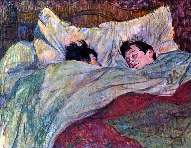 Две девушки в кровати   Анри де Тулуз Лотрек