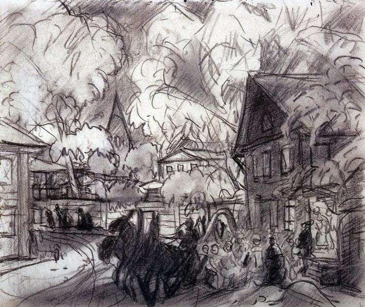Городской пейзаж с тройкой   Борис Кустодиев
