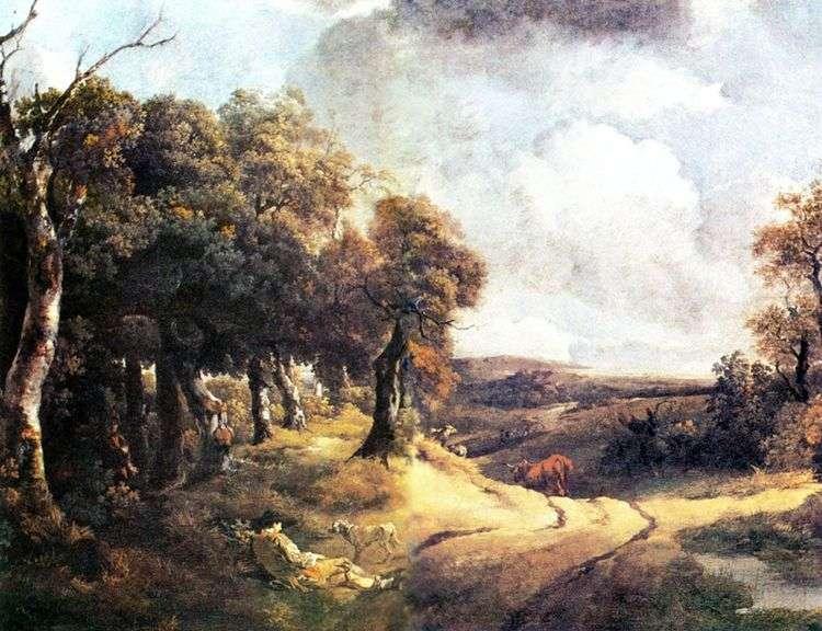 Дорога через лес и мальчик с собакой   Томас Гейнсборо