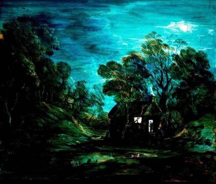 Лунный пейзаж с домиком   Томас Гейнсборо
