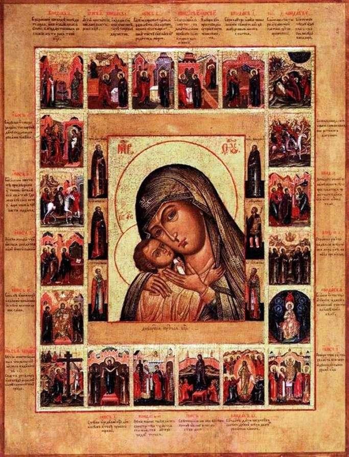 Богоматерь Днепрская, с Акафистом в 20 клеймах и святыми на полях средника