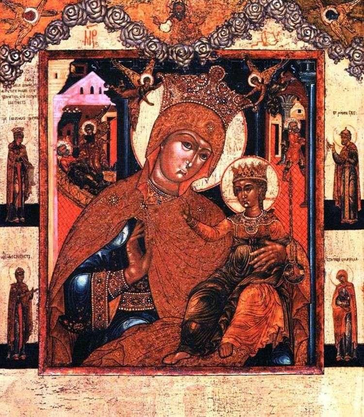 Богоматерь Прежде Рождества и по Рождестве Дева, со святыми на полях