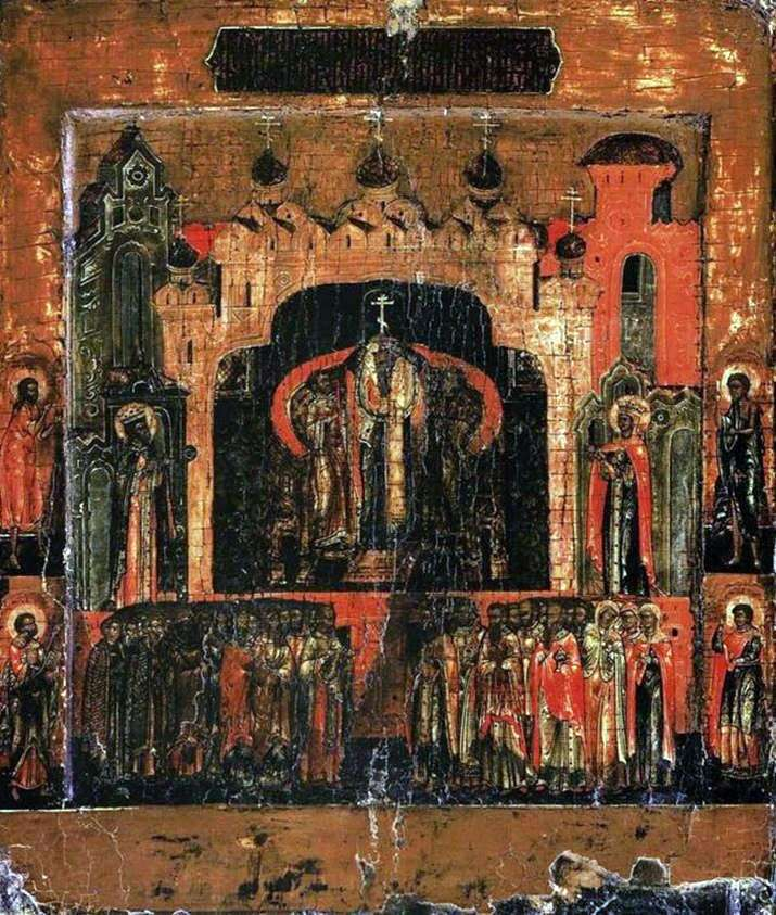 Воздвижение креста, со святыми на полях