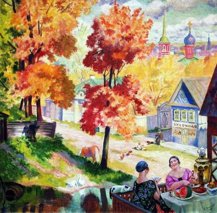 Осень в провинции. Чаепитие   Борис Кустодиев