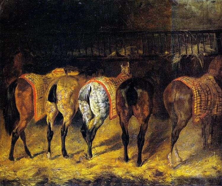 Пять лошадей, повернутых крупом, в конюшне   Теодор Жерико