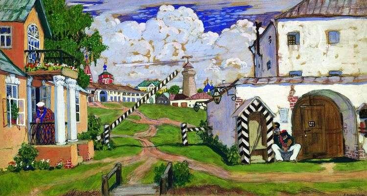 Площадь на выезде из города   Борис Кустодиев