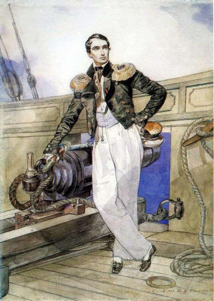 Портрет Владимира Корнилова на борту брига Фемистокл   Карл Брюллов
