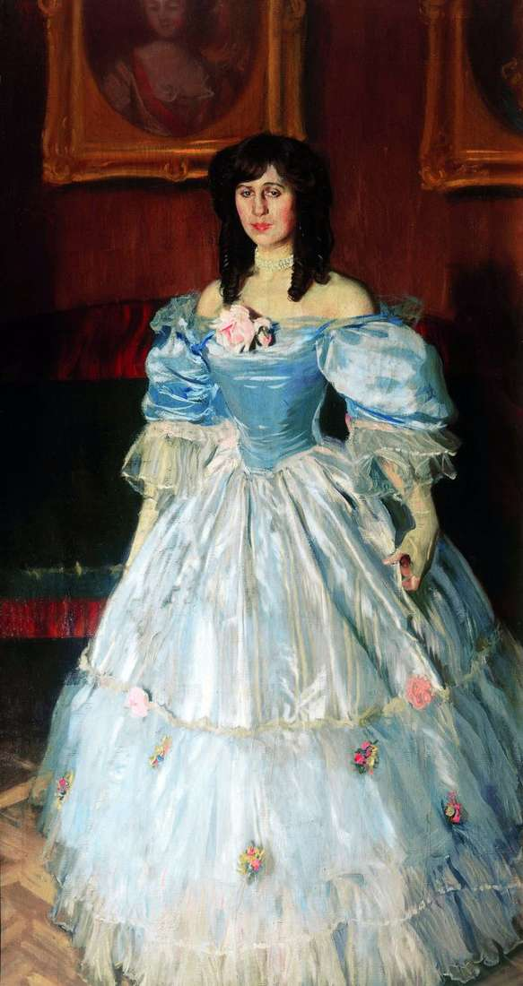 Портрет женщины в голубом   Борис Кустодиев