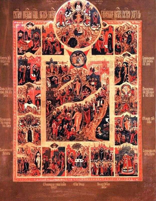 Воскресение Христово, со сценой Единородный Сыне и с праздниками в 12 клеймах