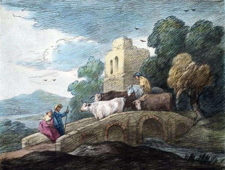 Стадо, переходящее мост   Томас Гейнсборо