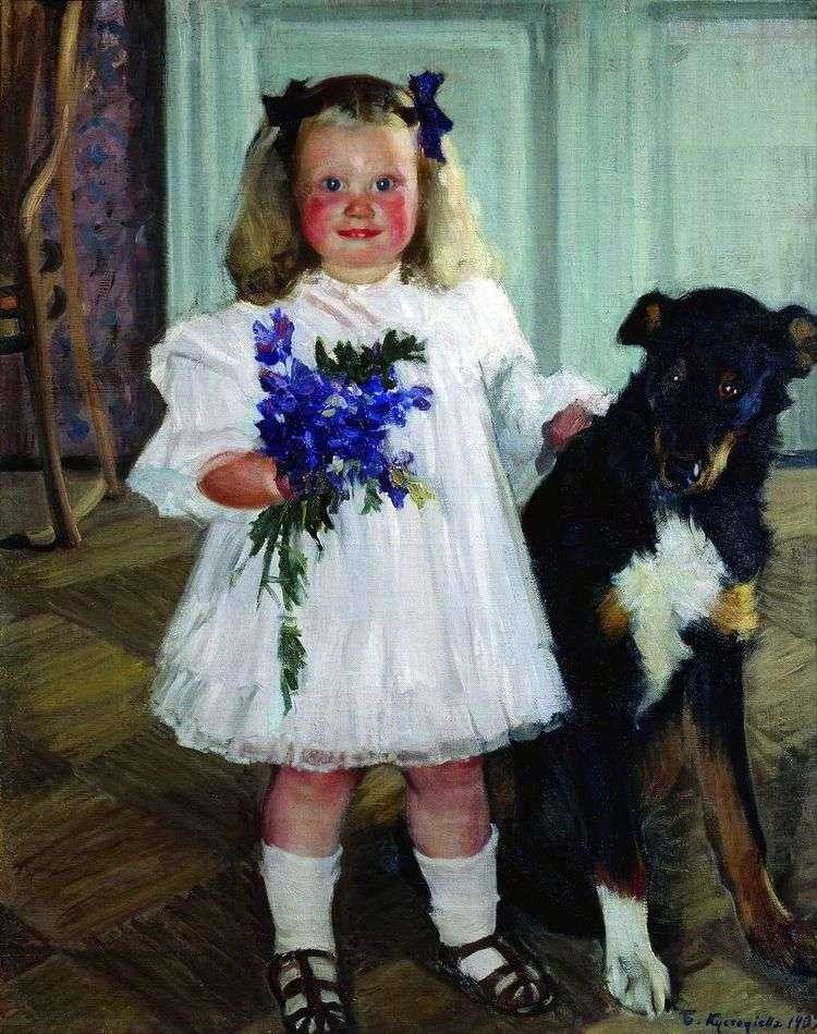Портрет Ирины Кустодиевой с собакой Шумкой   Борис Кустодиев