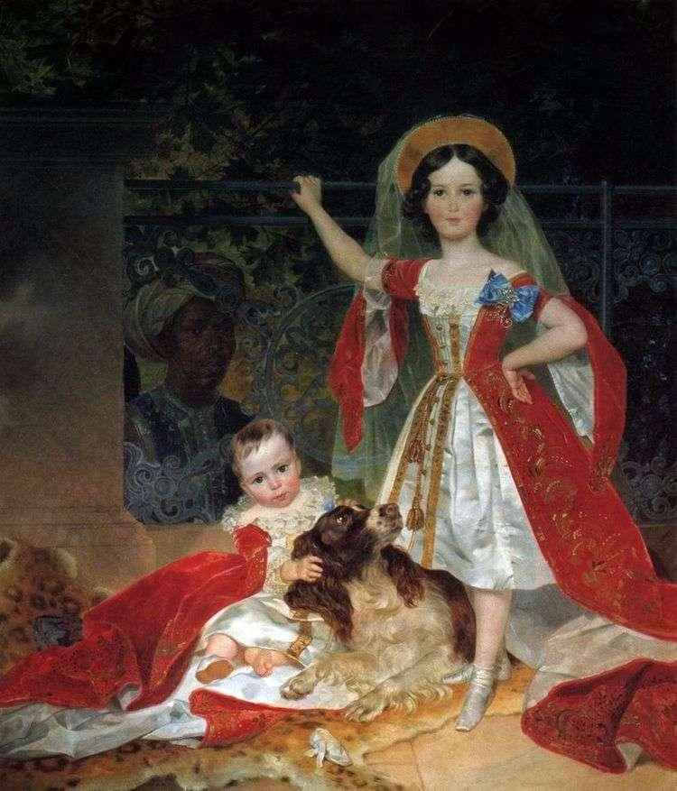Портрет детей князя Волконского с арапом   Карл Брюллов