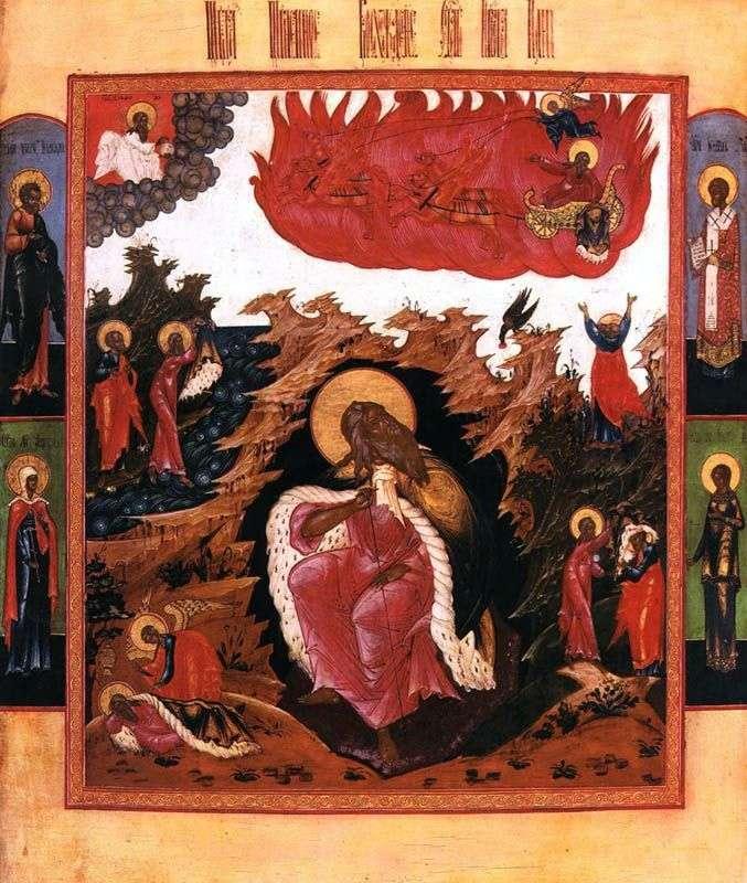 Илья пророк в пустыне со сценами жития и Огненным восхождением