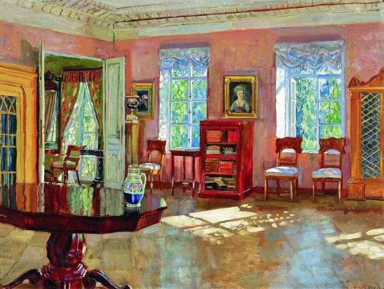 Интерьер библиотеки помещичьего дома   Станислав Жуковский