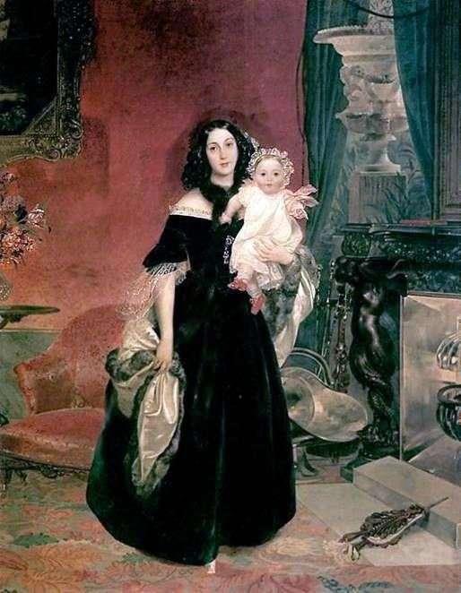 Портрет М. А. Бек с дочерью   Карл Брюллов