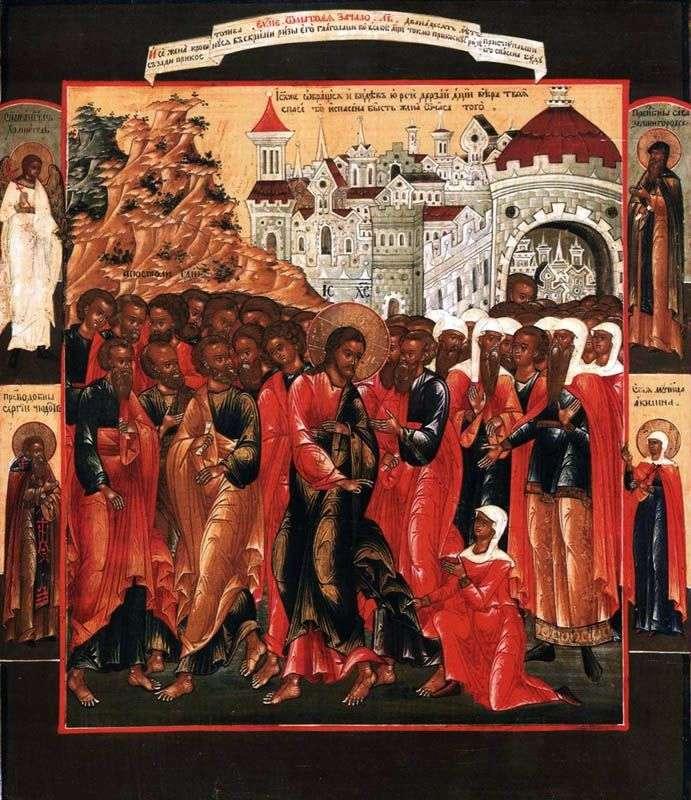 Исцеление кровоточивой жены, с Ангелом хранителем и тремя святыми на полях