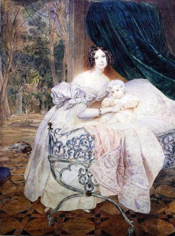 Портрет М. И. Бутеневой с дочерью   Карл Брюллов