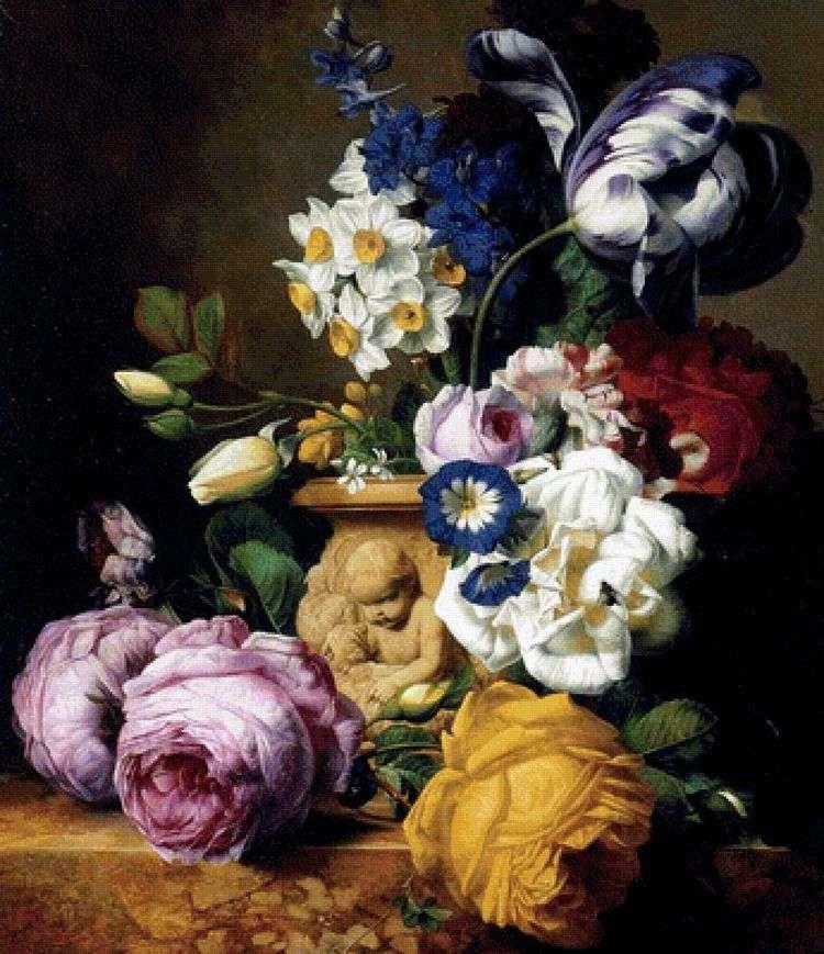 Розы, тюльпаны, дельфинум, пионы и нарцисы в вазе   Чарльз Жосеф Ноуд