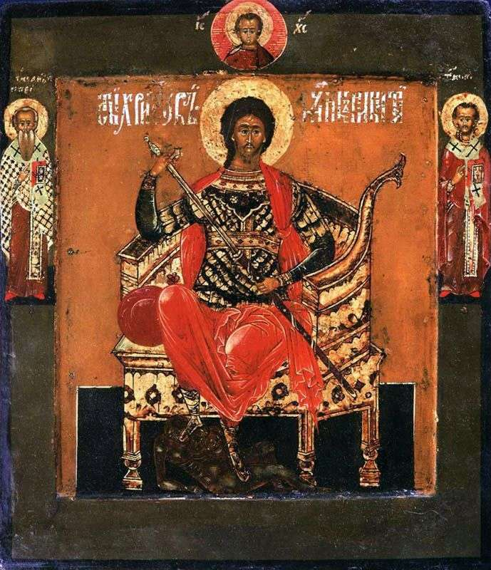 Святой великомученик Никита на престоле, со святыми на полях