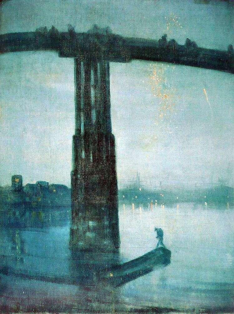 Ноктюрн в синем и золотом: Старый мост в Баттерси   Джеймс Уистлер