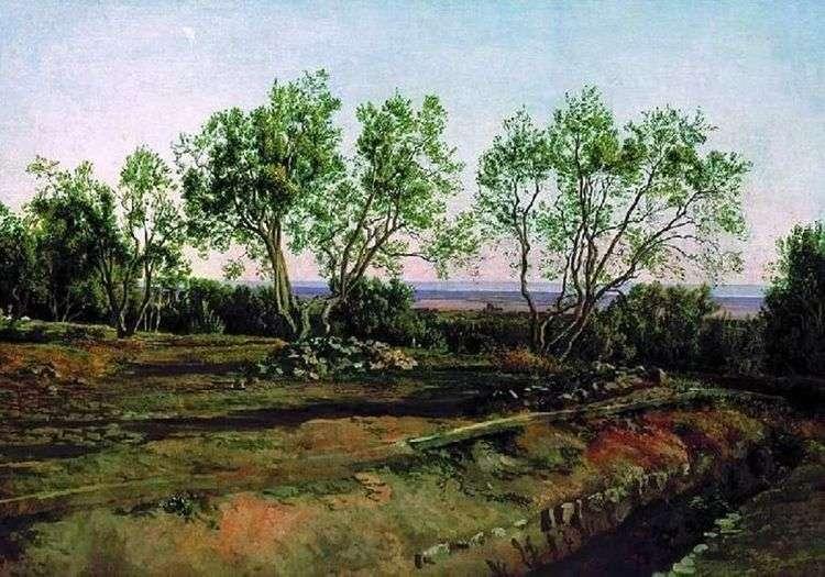 Оливы у кладбища в Альбано. Молодой месяц   Александр Иванов