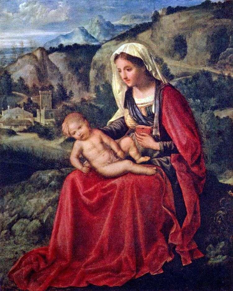 Дева Мария с младенцем на фоне пейзажа   Джорджоне