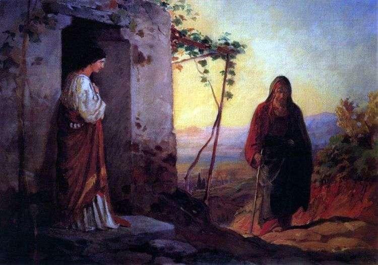 Мария, сестра Лазаря, встречает Иисуса Христа, идущего к ним в дом   Николай Ге