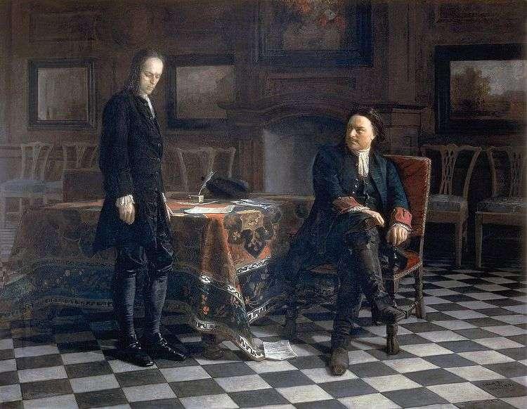 Петр I допрашивает царевича Алексея в Петергофе   Николай Ге