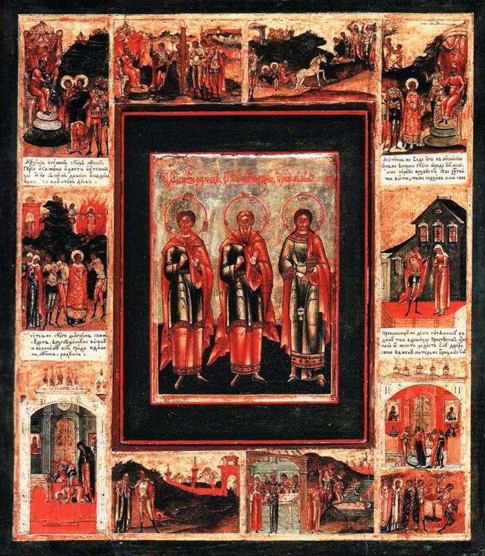 Святые проповедники Гурий, Самон и Авив, в раме с житием в 10 клеймах