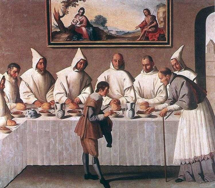 Чудо св. Гуго Гренобльского в трапезной монастыря   Франсиско де Сурбаран