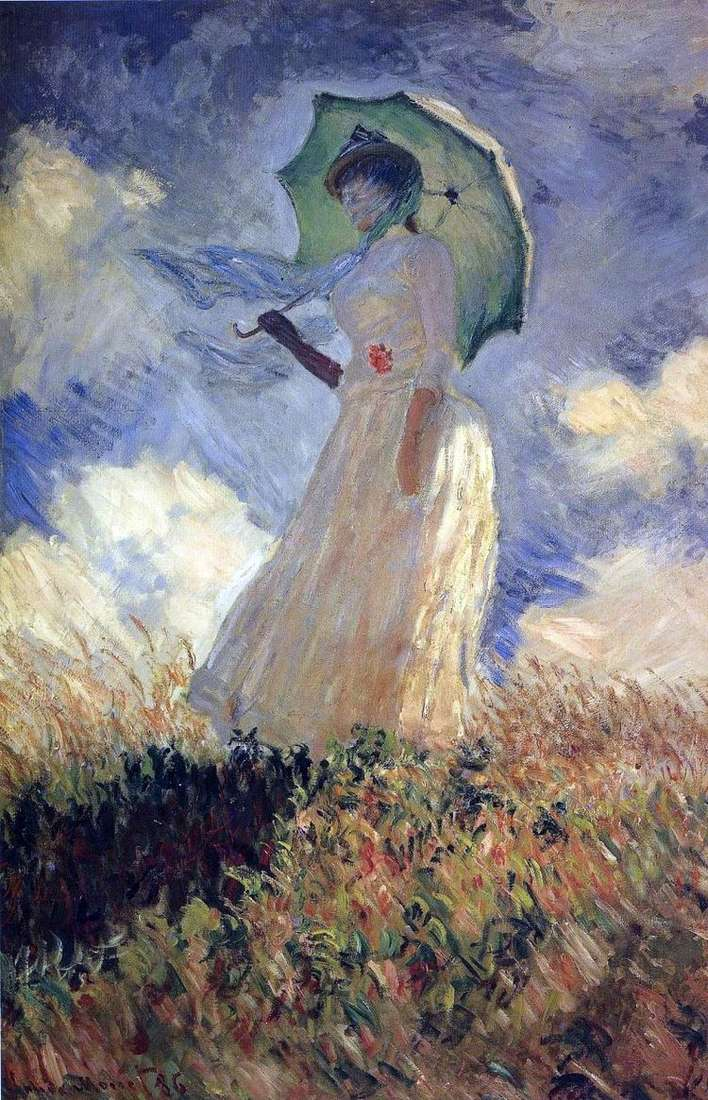 Дама с зонтиком   Клод Моне