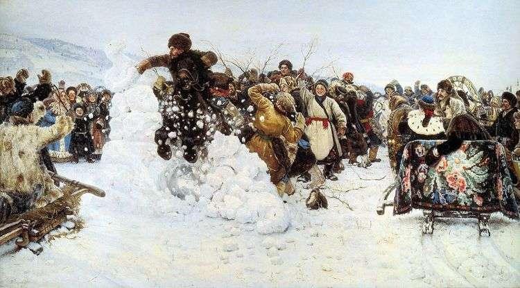 Взятие снежного городка   Василий Суриков