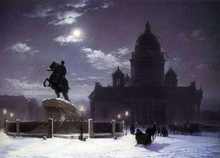 Вид памятника Петру I в Петербурге   Василий Суриков