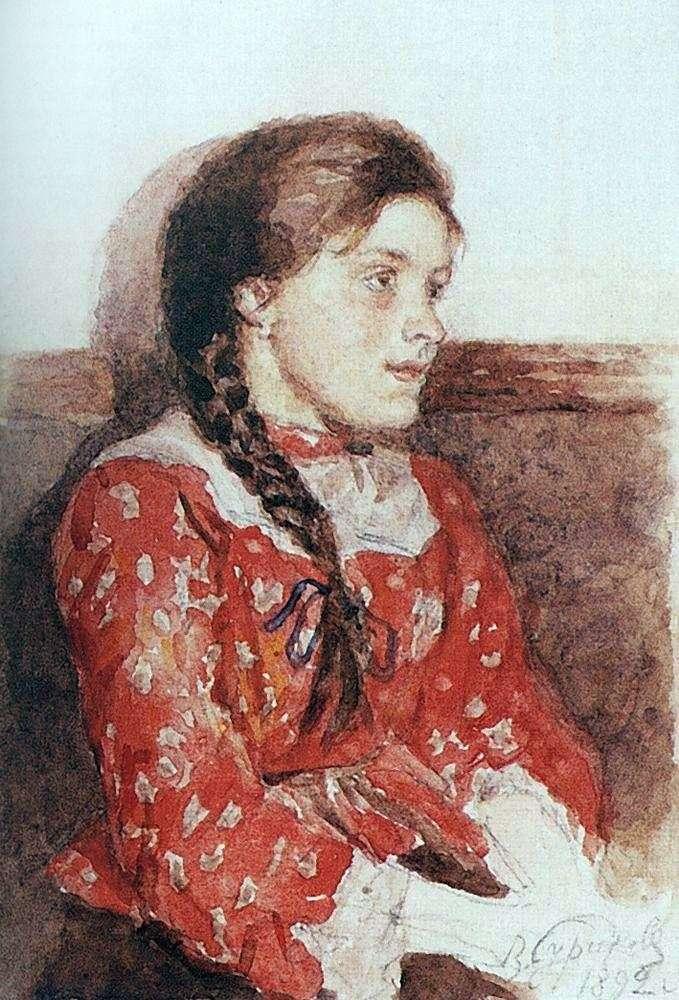 Девушка в красной кофте   Василий Суриков