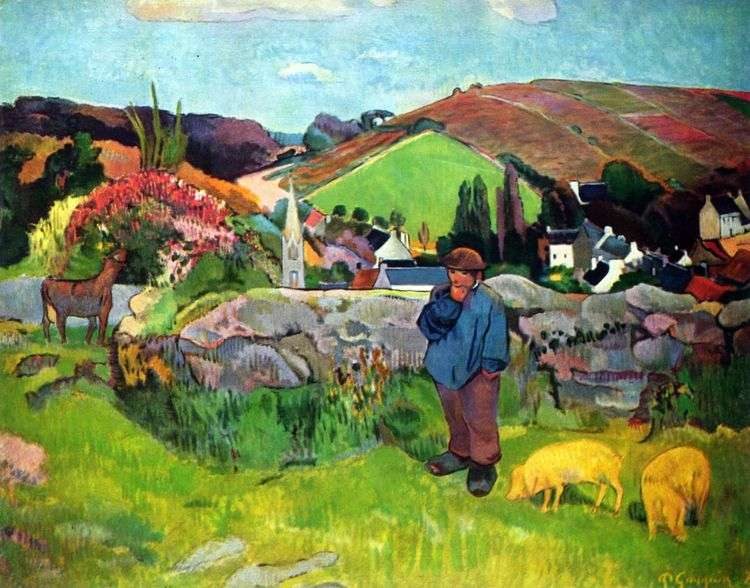 Бретонский пейзаж со свинопасом   Поль Гоген