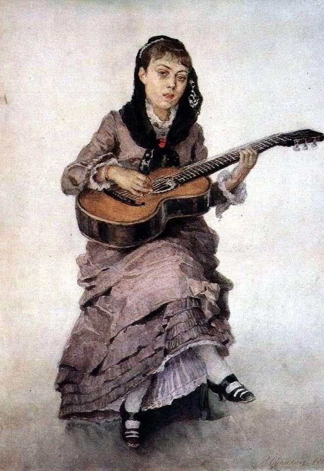 Портрет княгини С. А. Кропоткиной c гитарой   Василий Суриков