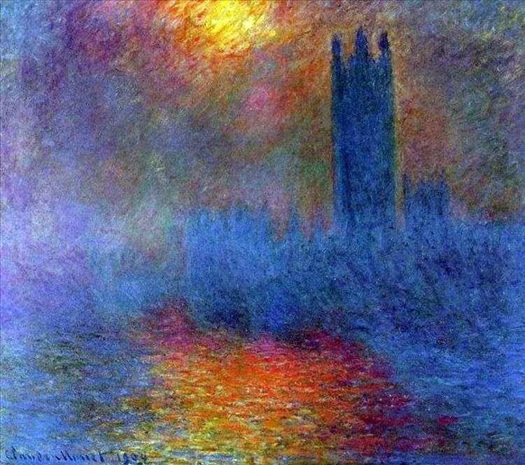Здание Парламента, солнце просвечивающее сквозь туман   Клод Моне