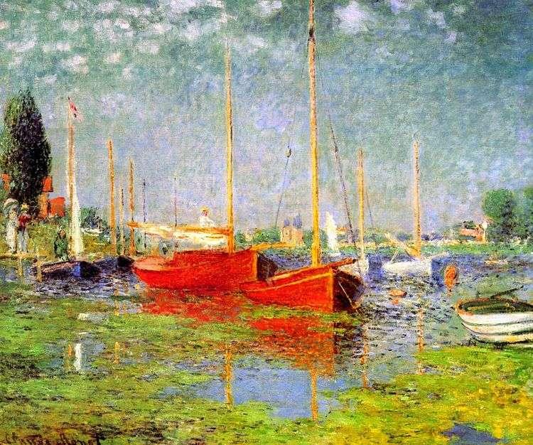 Красные лодки в Аржантей   Клод Моне