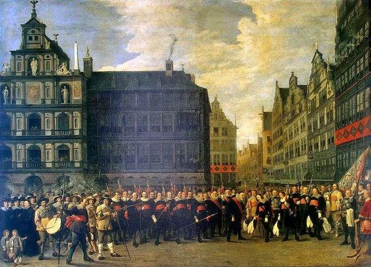 Групповой портрет членов стрелковой гильдии в Антверпене   Давид Тенирс