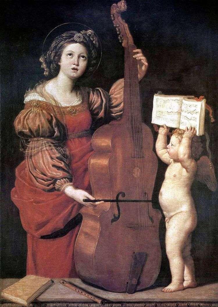 Музицирующая св. Цецилия с ангелом   Доменикино Дзампьери