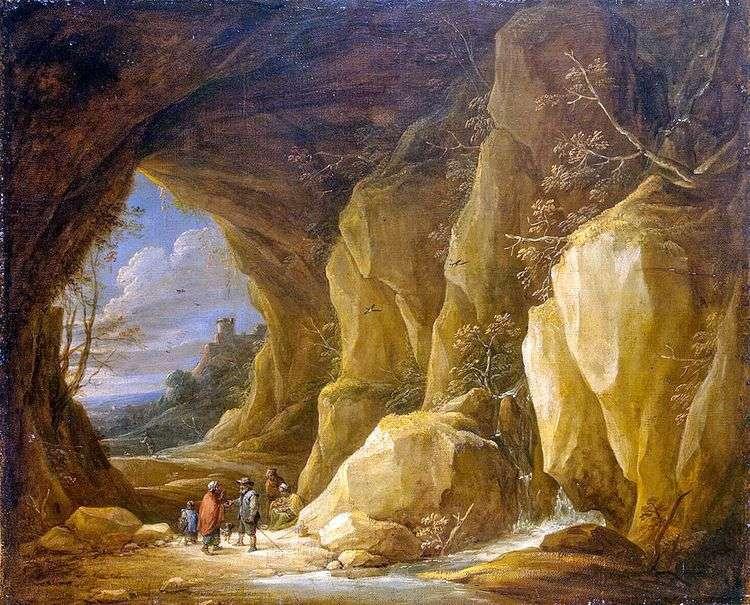 Пейзаж с гротом и группой цыган   Давид Тенирс