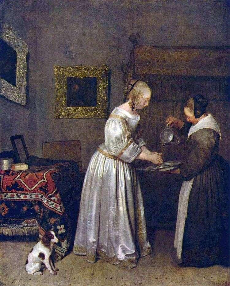 Женщина моющая руки   Герард Терборх