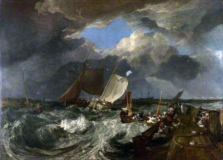 Мол в Кале. Французские рыбаки выходят в море прибывает английское пассажирское судно   Уильям Тернер