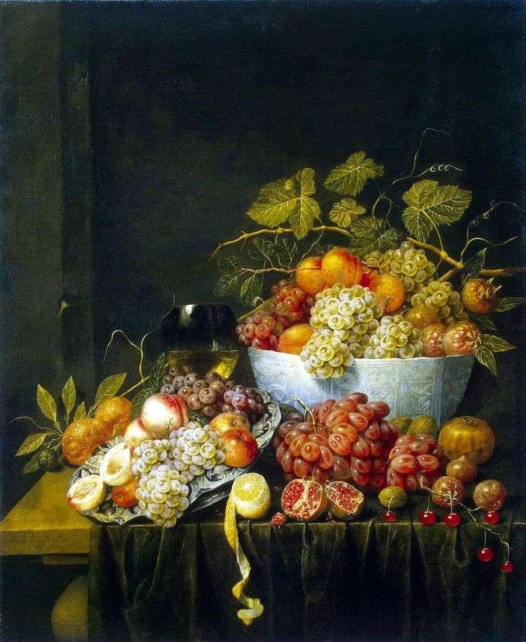 Натюрморт с виноградом   Адриан ван Утрехт