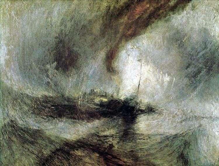 Снежная буря, пароход выходит из гавани, подавая сигналы на мелководье и измеряя глубину лотом   Уильям Тернер