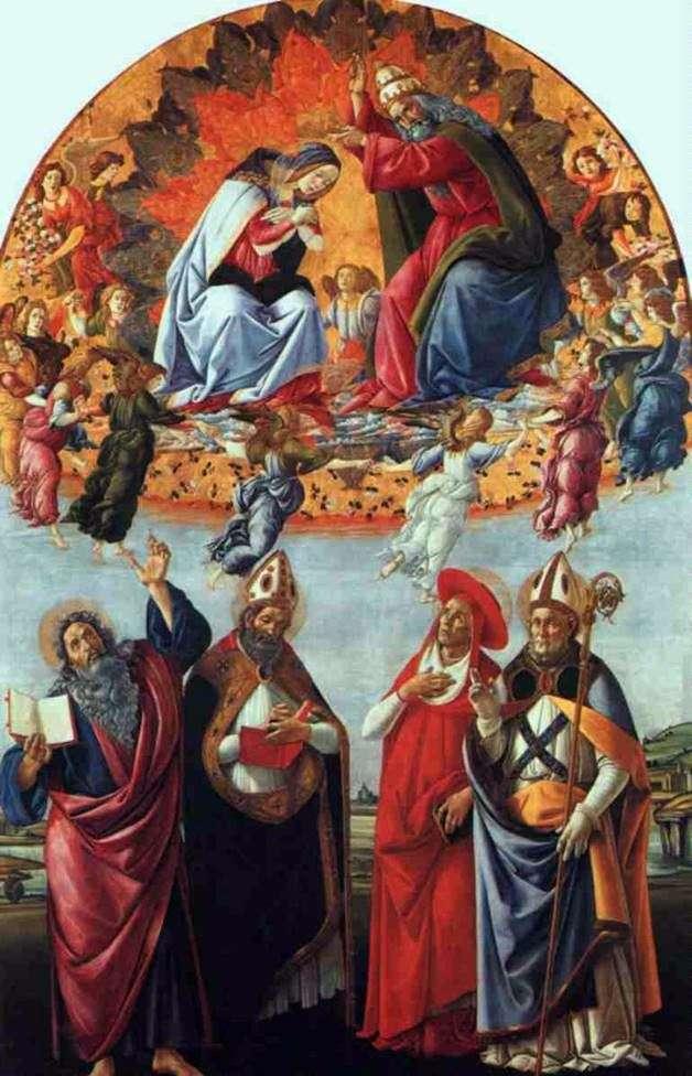 Алтарь Сан Марко, или Коронование Марии с ангелами, Евангелистом Иоанном и Святыми Августином, Иеронимом и Элигием   Сандро Боттичелли