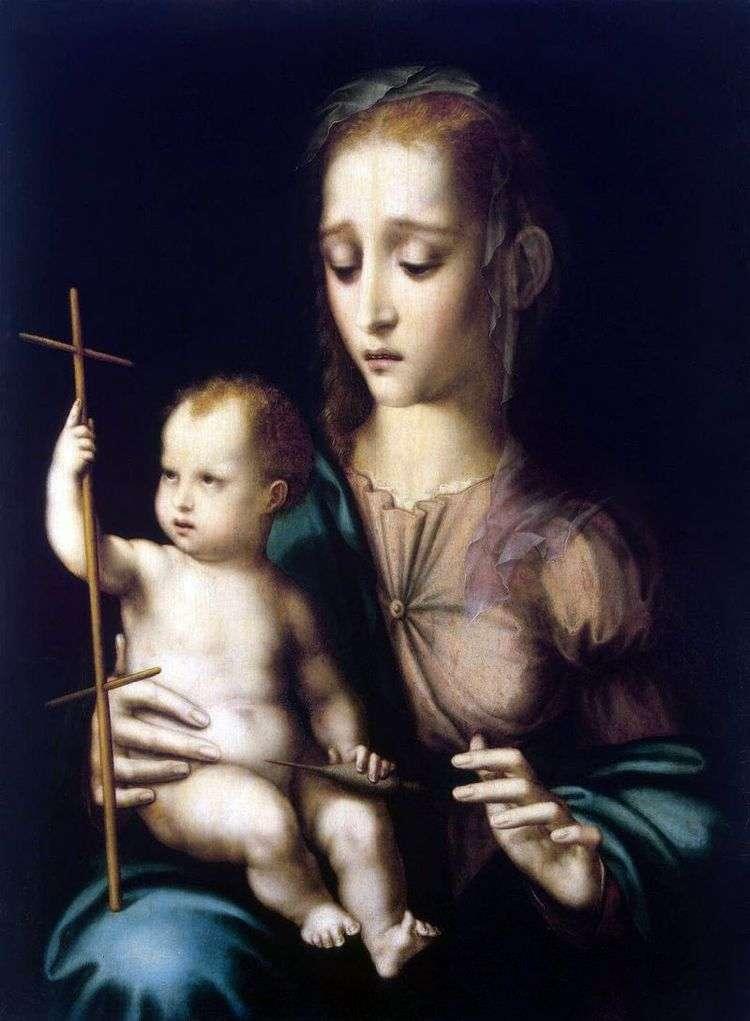 Мадонна с Младенцем и прялкой в виде креста   Луиса де Моралеса